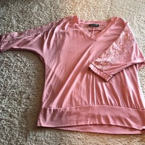 Blush shirt with lace detail